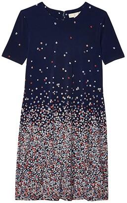 MICHAEL Michael Kors Short Sleeve Ombre Bloom Dress (Coral Peach) Women's Dress