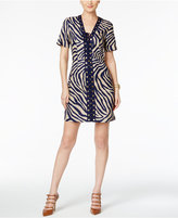 MICHAEL Michael Kors Linen Lace-Up Animal-Print Sheath Dress