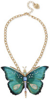 Betsey Johnson Gold-Tone Multi-Stone Large Butterfly Pendant Necklace