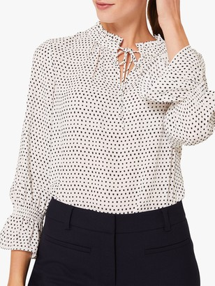 Hobbs Blaire Tie Neck Spotted Blouse, Ivory/Navy