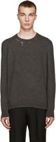 Lanvin Grey Wool Distressed Sweater