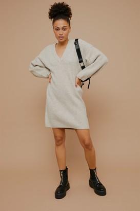 Topshop Womens Mink Oversized V Neck Knitted Jumper Dress - Mink