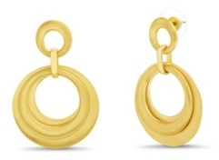 Catherine Malandrino Drop Multi Layered Hoop Earring in Yellow Gold-Tone Alloy