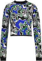 MSGM Printed stretch-crepe sweater