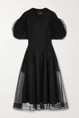 Simone Rocha Layered Tulle And Supima Cotton-jersey Midi Dress - Black
