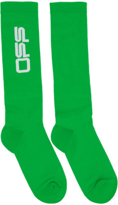 Off-White Green Wavy Logo Socks