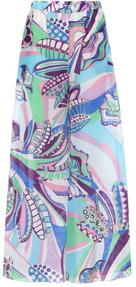 Printed cotton and silk wide-leg pants