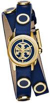 Tory Burch Reva Mini Double-Wrap Leather Watch