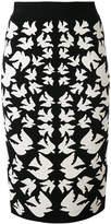 Alexander McQueen swallow jacquard pencil skirt