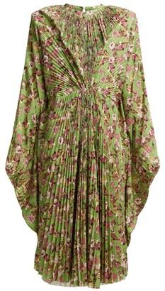 Vetements Floral-print Pleated Dress - Green Multi