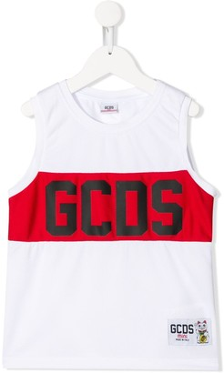 Gcds Kids sleeveless mesh logo print tank top