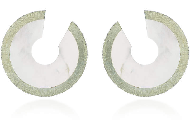 Arunashi One-Of-A-Kind Small Mother Of Pearl Disc Hoop Earrings
