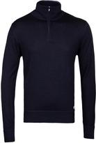 Cp Company Navy Light Wool Quarter Zip Sweater
