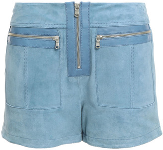 Victoria Victoria Beckham Leather-trimmed Zip-detailed Suede Shorts