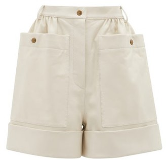 Symonds Pearmain - High-rise Leather Shorts - Cream