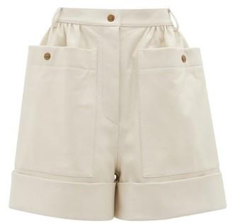 Symonds Pearmain - High-rise Leather Shorts - Womens - Cream