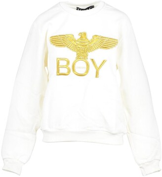 Boy London Off White & Gold Cotton Women's Sweatshirt