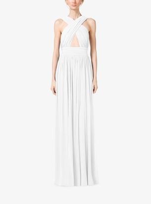 Michael Kors Cross-Front Cutout Tissue Matte-Jersey Gown