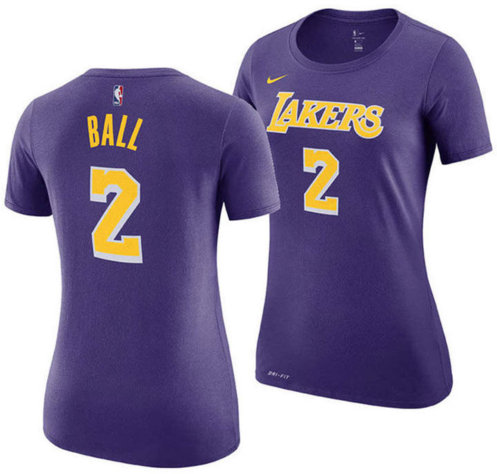 new arrival 19a34 88931 Women Lonzo Ball Los Angeles Lakers Name and Number Player T-Shirt