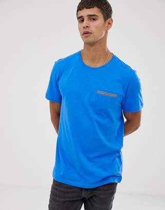 Esprit t-shirt with taped pocket in blue