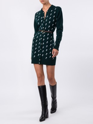 Chloé Dark Pine Green Horse Embroidered Cardigan Dress