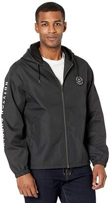 Brixton Claxton Oath Zip Hood Jacket (Black/White) Men's Clothing