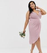 TFNC Plus bridesmaid exclusive wrap midi dress in pink