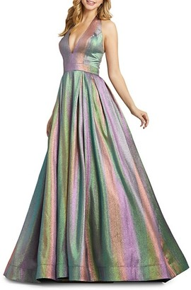 Mac Duggal Halterneck Rainbow Ball Gown