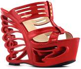Show Story Stud Cut-out T Bar Strappy Bride Wedding Wedge Butterfly Heel Sandals Shoes,LF51805RD38,6US