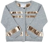 Little Marc Faux-Leather-Trimmed Knit Cardigan-GREY