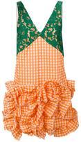 MSGM checked ruffled lace dress - women - Polyester/Cotton/Polyamide - 42