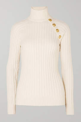 Balmain Button-embellished Ribbed Cotton-blend Turtleneck Sweater - Off-white