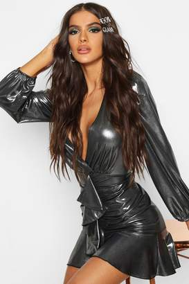 boohoo Metallic Ruffle Detail Dress