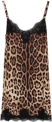 Dolce & Gabbana Silk Dress With Lace Detail