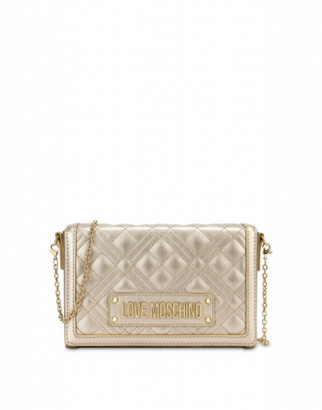 Love Moschino Quilted Evening Bag With Logo Woman Gold Size U It - (one Size Us)