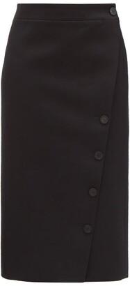 Balenciaga Buttoned Wool-gabardine Wrap Skirt - Black