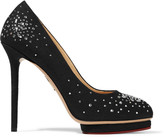 Charlotte Olympia Bjeweled Dotty crystal-embellished canvas pumps
