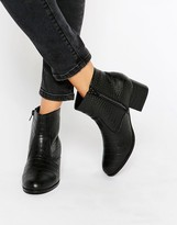 London Rebel Croc Print Mid Heeled Ankle Boots
