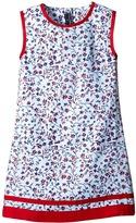 Oscar de la Renta Childrenswear Floral Ikat Cotton A-Line Dress (Toddler/Little Kids/Big Kids)
