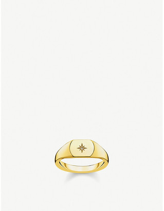 Thomas Sabo Vintage Star 18ct yellow gold-plated and diamond signet ring