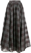 Erdem silk check flared midi skirt