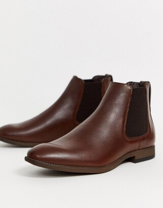 New Look faux leather chelsea boot in brown