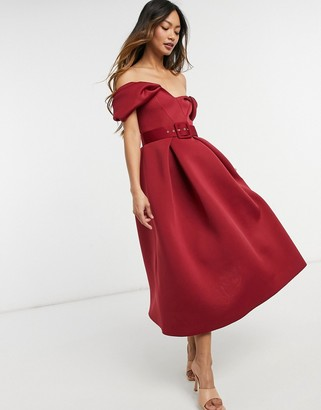 ASOS DESIGN bow belted prom midi dress in wine
