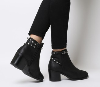 Office Attract Stud Ankle Strap Boots Black With Silver Studs