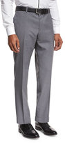 HUGO BOSS Solid Flat-Front Straight-Leg Trousers, Light Gray