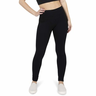 Peds Women's Brushed Terry Cotton Legging with Wide Comfort Waistband