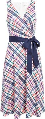 Eliza J Sleeveless Belted Fit & Flare Midi Dress