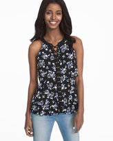 White House Black Market Sleeveless Tiered Lace-Up Floral Top