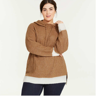 Joe Fresh Women+ Sweater Hoodie, Light Brown (Size 2X)