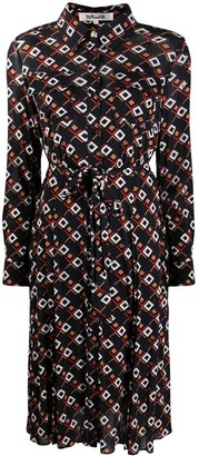 Diane von Furstenberg Geometric-Print Long-Sleeved Mini Dress